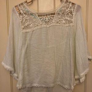 Tops - Boho Boutique Lace Trim Crochet Top